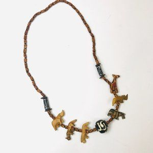 Wooden Tribal Animal Bead Necklace